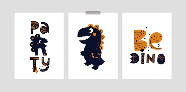幼稚なカードや女の子や男の子のためのかわいい漫画の恐竜キャラクターのポスター。ディノパーティー