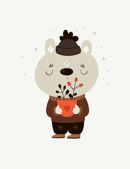 Childish cartoon baby teddy bear