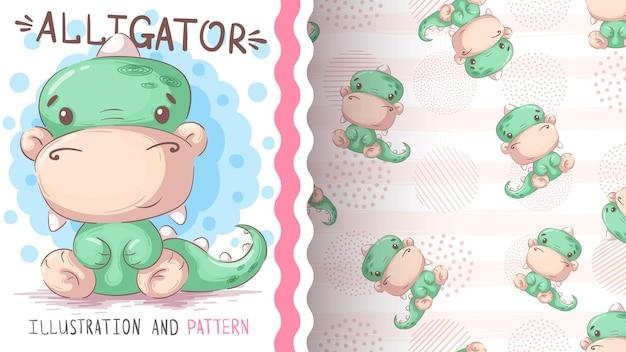 유치 한 만화 캐릭터 동물 악어 원활한 패턴
