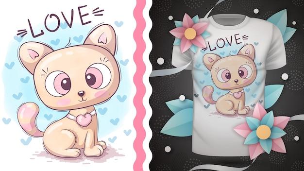 幼稚な漫画のキャラクターの動物の猫