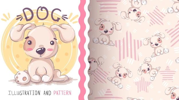幼稚な漫画のキャラクターの動物の犬のシームレスなパターン