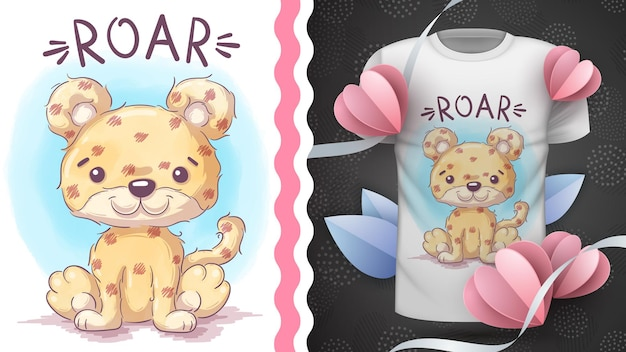 Childish cartoon character animal jaguar  idea for print tshirt hand draw