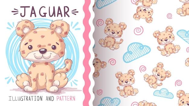 幼稚な漫画のキャラクター動物ジャガーシームレスパターン