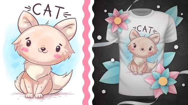 유치한 만화 캐릭터 동물 수채화 고양이 손 그리기