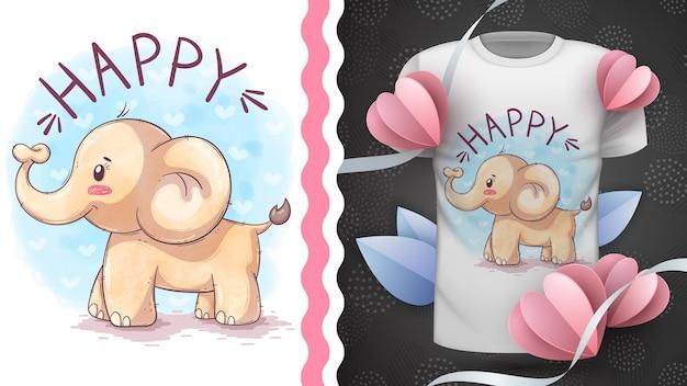 유치한 만화 캐릭터 동물 수채화 코끼리