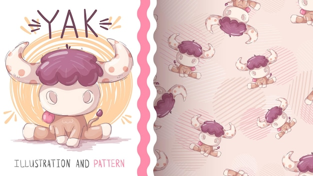 幼稚な漫画のキャラクターの動物ヤク-シームレスなパターン