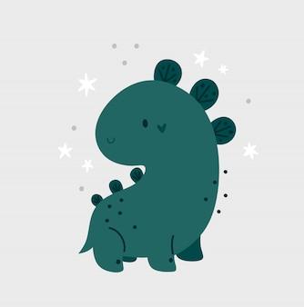 Childish cartoon cute baby dinosaur with stars