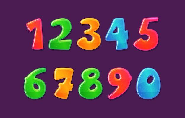 Childish colorful bubble numbers set design illustration