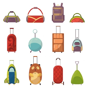 Childish cute bag types for trips collection. wheeled child handle travel bag. variety bright backpacks for school children, students, travelers and tourists. fashionable bags for kids and adults