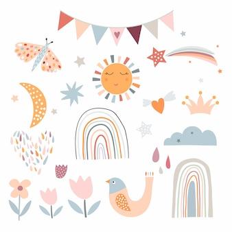 Childish cute elements collection, pastel colors
