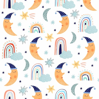 Childish cute seamless pattern with funny moon and rainbows