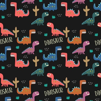 Childish dinosaur drawing seamless pattern background.