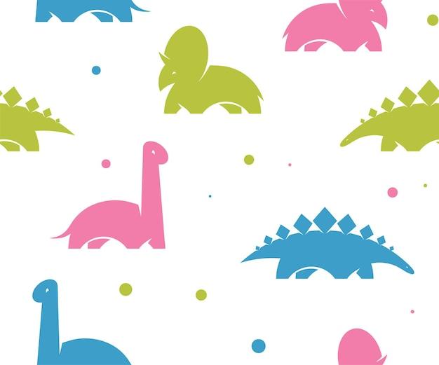 Детский динозавр бесшовные модели для модной одежды, ткани, футболок. детский векторный фон. розовый динозавр.