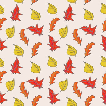 Childish drawing of autumn floral and foliage pattern