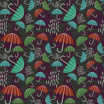 Childish drawing pattern background with raindrop