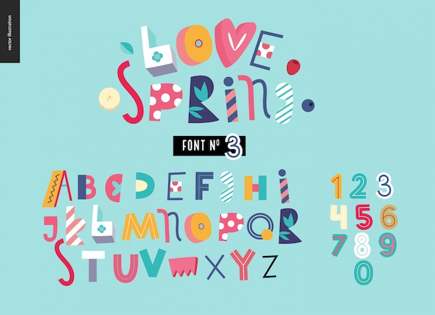 Childish flat alphabet font