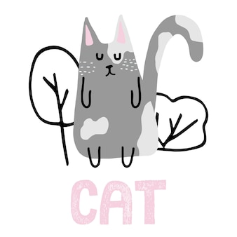 Childish handdrawn illustration of a gray cat illustration of a cute cat near the bushes