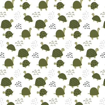 Childish handdrawn pattern with cute green turtles