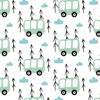 幼稚な手描きのバスとシームレスなパターン緑のバスとパターン