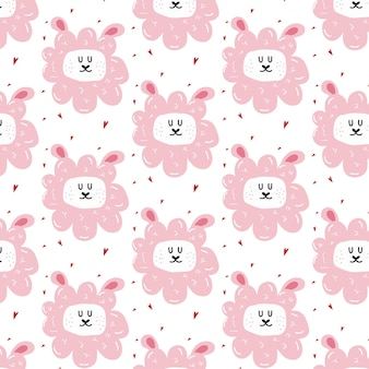 Childish handdrawn seamless pattern with cute sheep pattern with sheeps head and hearts