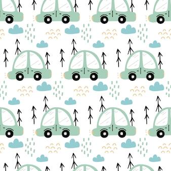 緑の車と幼稚な手描きのシームレスなパターン車と木とパターン