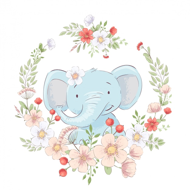 Childish illustration of cute little elephant in a wreath of flowers. hand drawing. vector