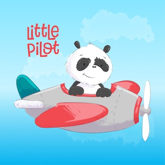 Childish illustration of  cute panda on the plane in cartoon style. hand drawing.