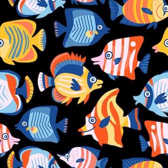 Детский морской детский рисунок с подводными животными