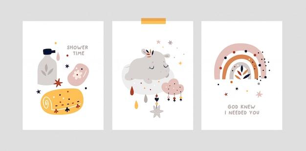 Childish milestone cards with cute baby animal