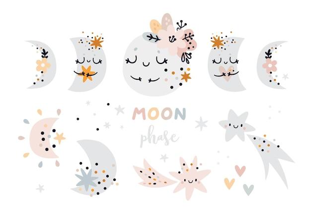 파스텔 색상의 유치한 달의 위상. 아이들을위한 초승달과 만화 별