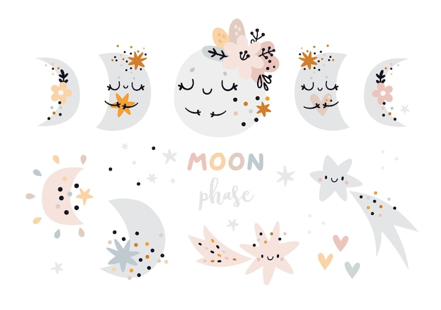Childish moon phase in pastel colors. crescent moon and cartoon stars for kids