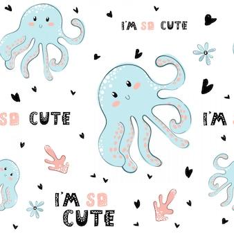 Childish octopus seamless pattern