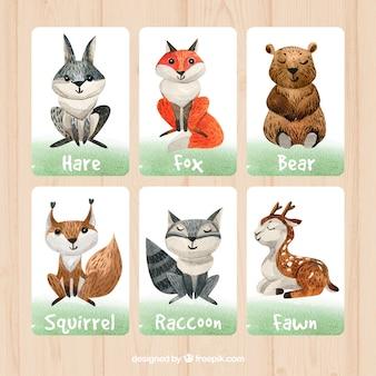 水彩画の動物のカードの子どものパック