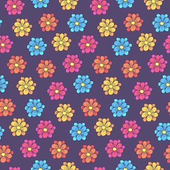 Childish pattern with colorful daisy flowers