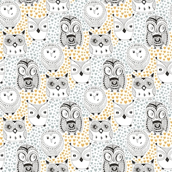 Childish pattern with funny owl. doodle hand drawn seamless cute birds. vector background for textile print or coloring book pages