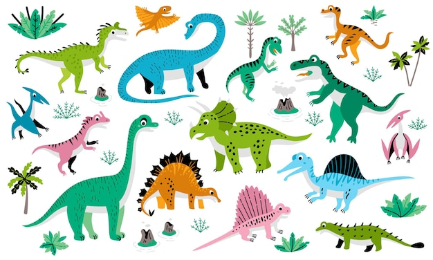 Childish poster with jurassic dinosaur set