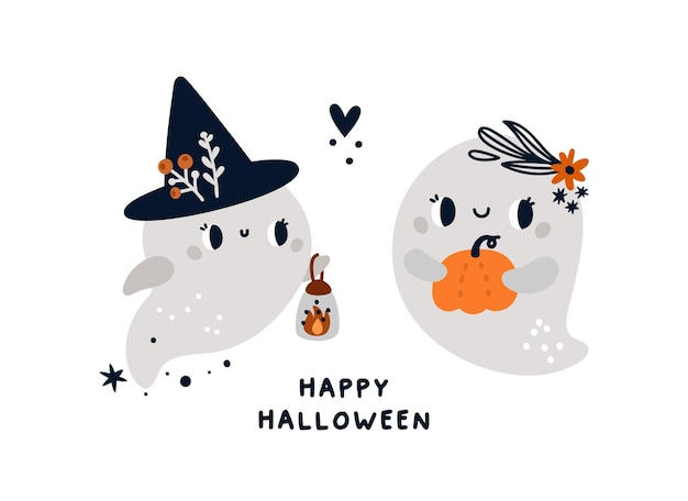 Childish print for halloween with cute cartoon kind ghosts