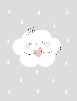 Childish print illustration with cute lovely cloud princess