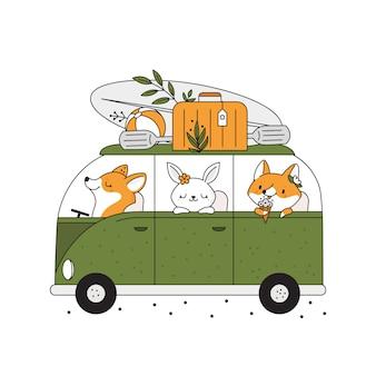 Детский принт с милыми зверюшками в автобусе едет на летние каникулы