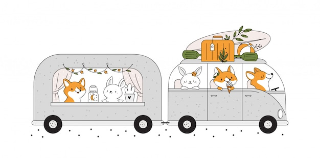 Childish print with cute baby animals in motorhome bus going to summer holiday