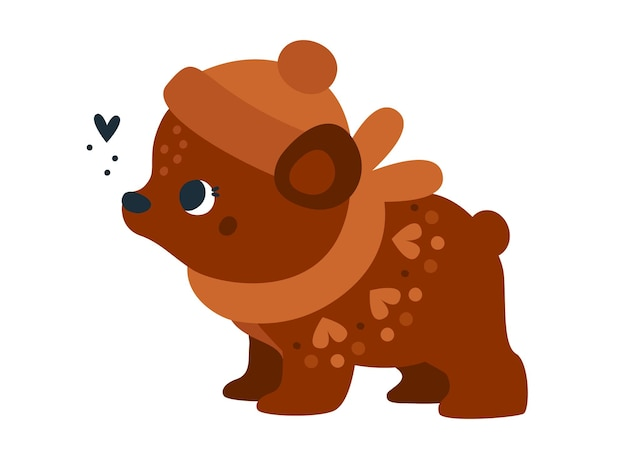 Childish print with cute baby bear with floral ornament baby animal character