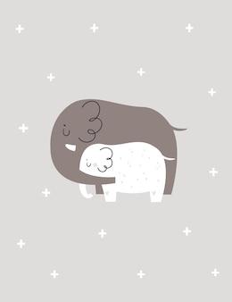 코끼리 동물의 귀여운 가족과 함께 유치 인쇄. 베이비 샤워