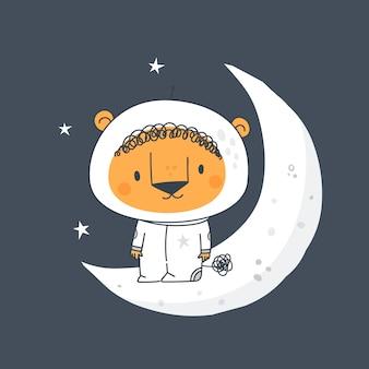 月にかわいいライオンがいる幼稚なプリント。宇宙の赤ちゃん動物宇宙飛行士