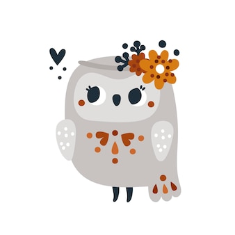 Childish print with little baby owl bird for kids