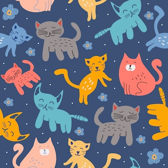 Childish scandinavian cat and kitten seamless pattern