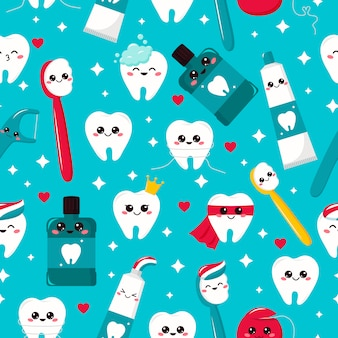 Childish seamless dental pattern. kawaii tooth, toothpaste, toothbrush, mouthwash and dental floss. cartoon characters. hygiene.