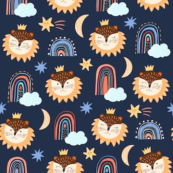 Childish seamless pattern/background with funny lion and rainbows