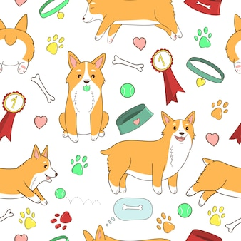 Childish seamless pattern. cute cartoon welsh corgi puppy. dog care objects.