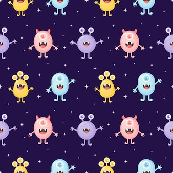 Childish seamless pattern cute funny monster cartoon