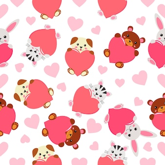 Childish seamless pattern - funny kawaii animals with hearts.
